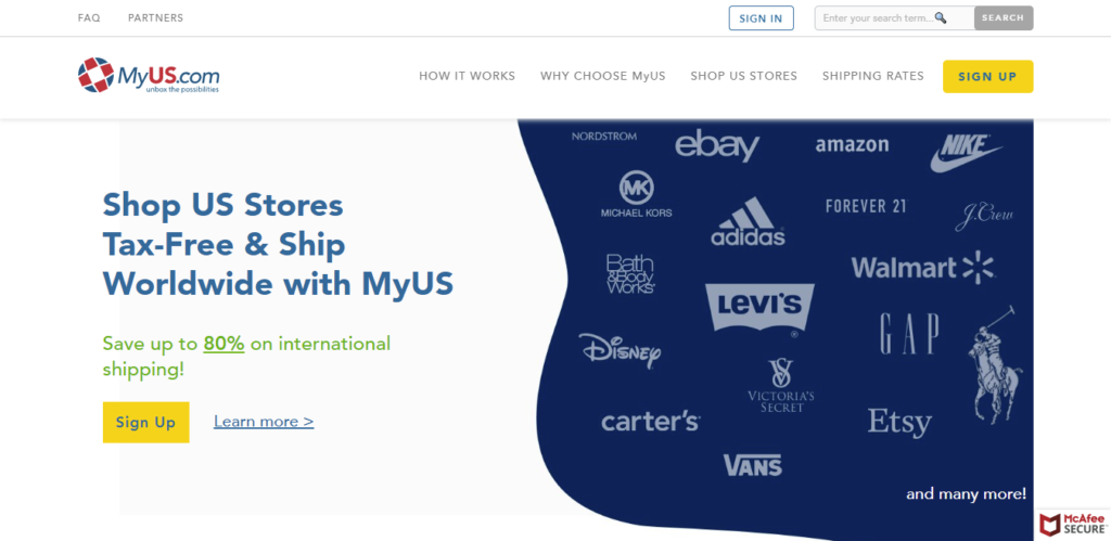 MyUS Paketweiterleitung